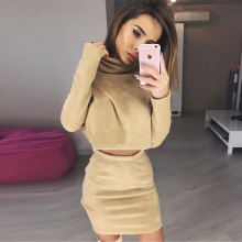 2017 Special Offer Cotton Polyester Full None Turtleneck Above Knee, Mini Tracksuits 2017 Spring New Suit Tops+sleeveless Skirt