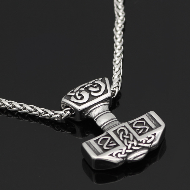 316L STAINLESS STEEL NORSE VIKING THOR'S HAMMER NECKLACE (2 VARIAN)