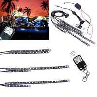 6Pcs RGB LED Universal 15 Color Motorcycle Glow Flexible LED Strip Light Bar Article Lamp Remote