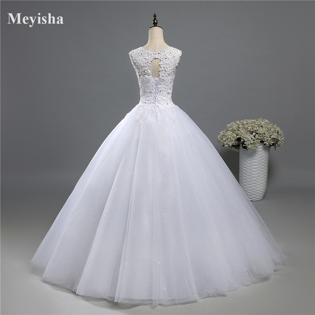 ZJ9139 Ball Gown Real Images Lace Tulle 2020 Wedding Dresses 2019 Dresses Bridal Dress Plus Size Shine Skirt Crystal Beads 2