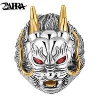 ZABRA Luxury 925 Sterling Silver Dragon Ring Big Adjustable Size Red Stone Cubic Zirconia Punk Mens