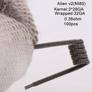 Image 4 - XFKM Ni80/A1/SS316 Alien v2 Coils For RDA RTA Atomizer Electronic Cigarette Vape Pen Accessory 100 Pieces/box Alien V2 Coil