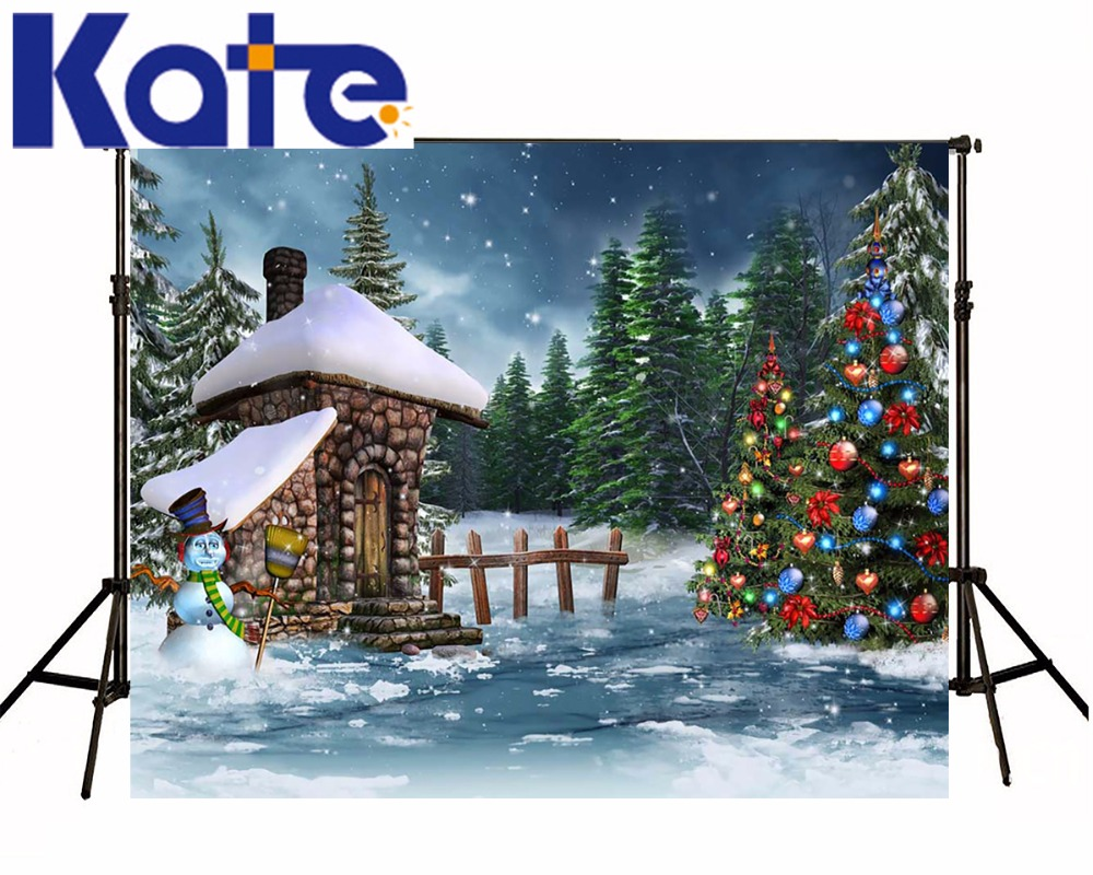 Kate Winter Photo Backdrop 10ft Christmas Tree Photography Props Snow House Custom Backdrop Printing For Children Photo Studio