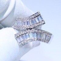 Прямая доставка Новое поступление Роскошные ювелирные изделия 925 пробы серебряный крест кольцо Принцесса 5A циркония Вечность Обручальное