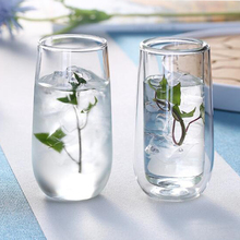 Handmade Heat Resistant Double Layer Glass Coffee Tea Drink Cups Insulated Clear Cup Whiskey Drinkware