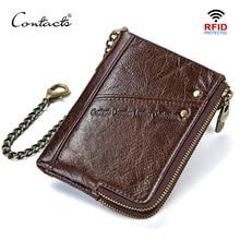 CONTACTS cuir véritable hommes portefeuilles RFID court walet porte monnaie homme portomonee porte carte hommes portefeuille carteira masculina
