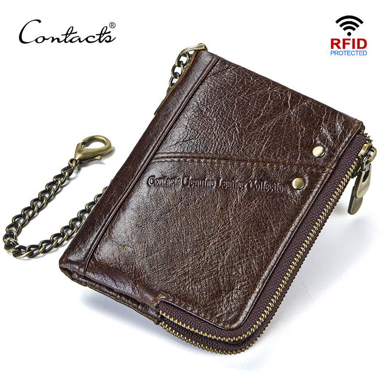 CONTACT'S Genuine Leather Men Wallets RFID Short Walet Coin Purse Male Portomonee Card Holder Men's Wallet Carteira Masculina