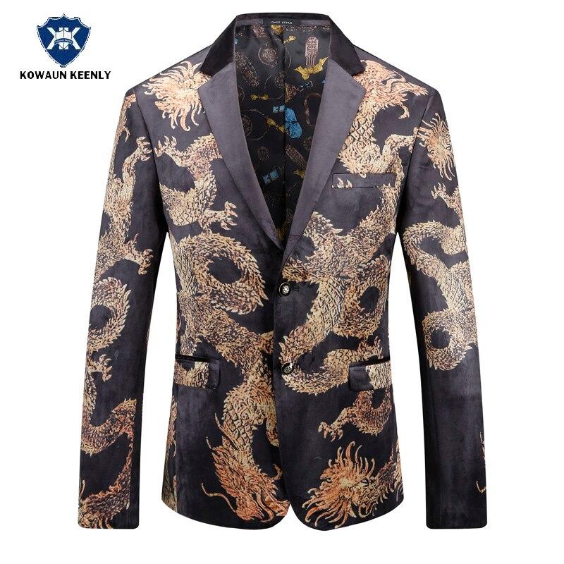 2017 Autumn Black Gold Blazer For Men Chinese Style