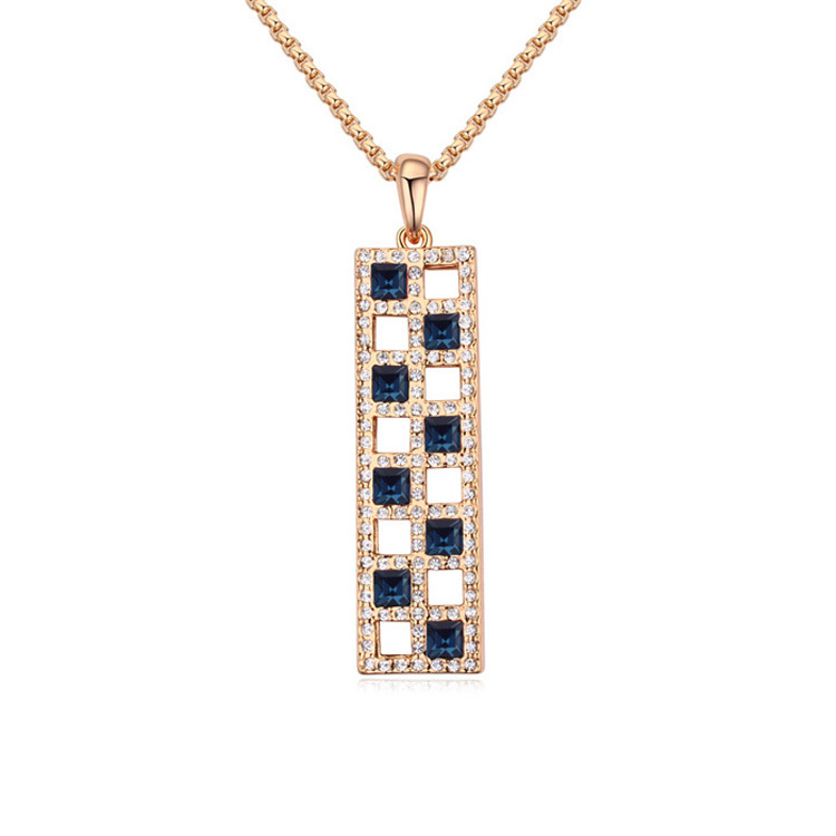 Christmas Necklace Men Women Jewery Rectangle Big Pendant Austrian Crystal Long Sweater Chain Necklaces Fashion Necklace Bijoux