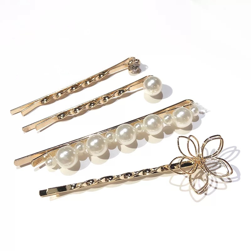 3Pcs 4Pcs Set New Flower Pearls Women Hair Clips Fashion Bow Crystal Hairpins Pink Love Hair Accessories Headband Sweet Headwear in Women 39 s Hair Accessories from Apparel Accessories