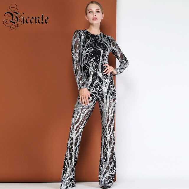 f9a626849264 Vicente HOT Chic Silver Sequins Design Mesh Jumpsuit Long Sleeves Boot Cut  Wholesale Celebrity Party Club