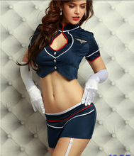 Caliente lencería Sexy juego uniformes azafata azafata Etapa del club outfit sex toy cosplay disfraces Tentación 1955