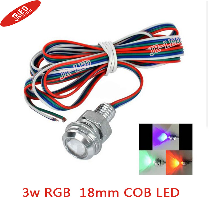 Freeshipping 2pcs Жоғары жарықтық Сымды 3W E-01 18mm / 23mm COB СИД Eagle Eyes Car Lamp RGB Light 70lm - Күміс + Қызыл