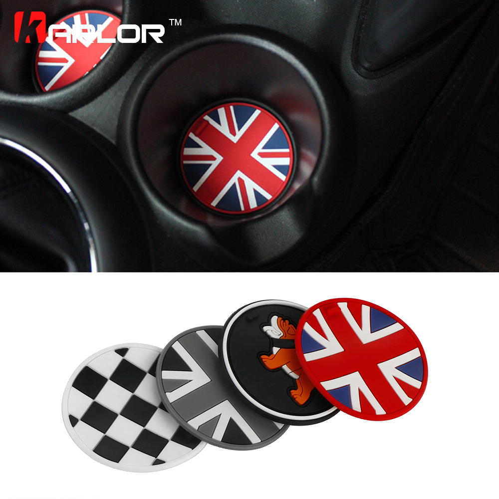 For MINI COOPER Cup Holder mats Silicone MATS NON-SLIP mats one Clubman Countryman R55 R56 R57 R60 R61 F55 F56 Accessories sun protection cool hat car logo for mini cooper s r53 r56 r60 f55 f56 r55 f60 clubman countryman roadster paceman car styling