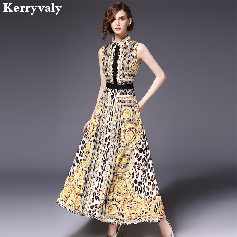 Lapel Leopard Print Sleeveless Summer Maxi Dress Vestidos Mujer 2018 Women Long Party Beach Dress Robe Longue Femme Ete K182