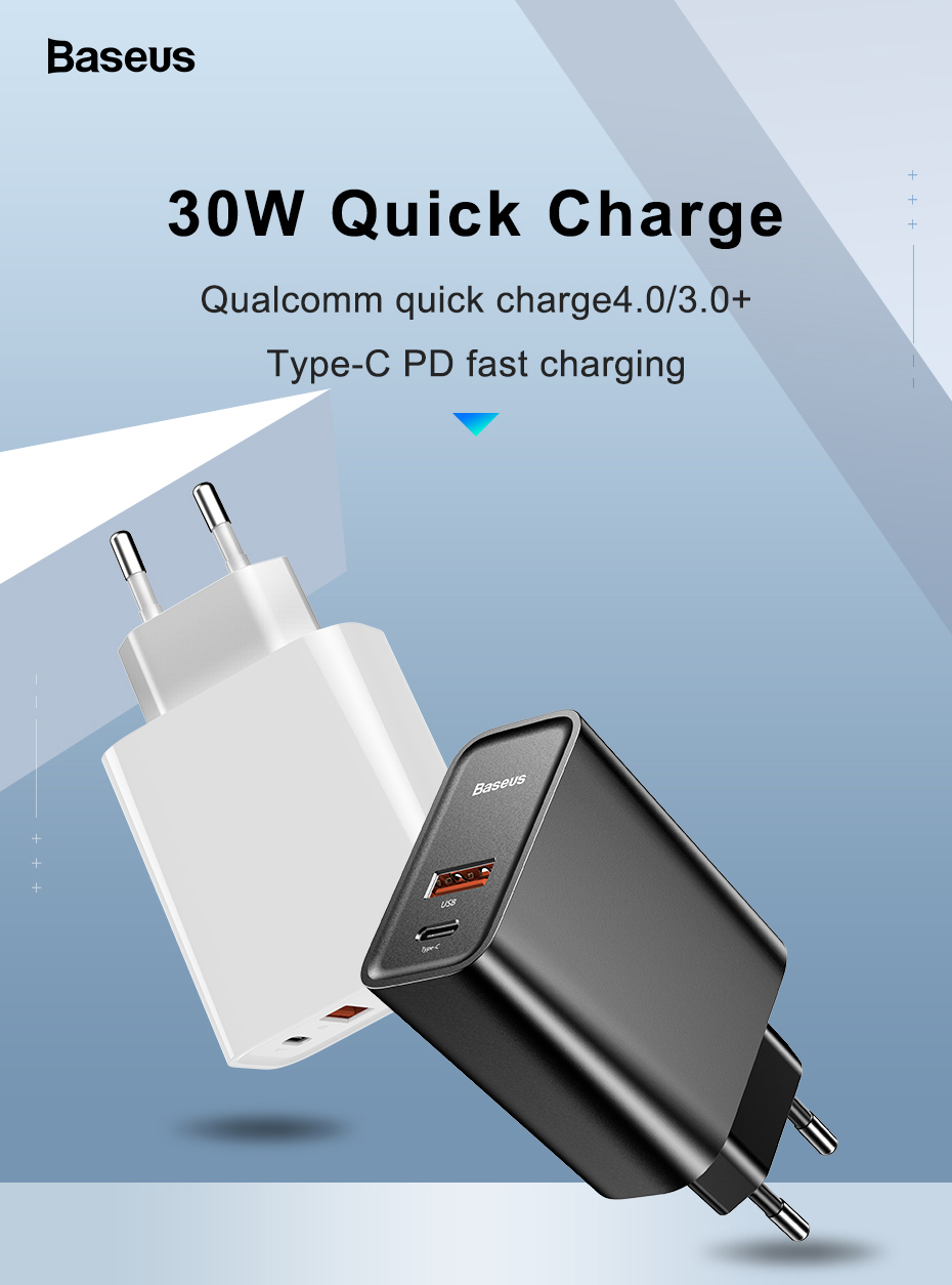 Baseus Quick Charge 4 0 3 0 Usb Charger For Redmi Note 7 Pro 30w Pd Supercharge Fast Phone Charger For Huawei P30 Iphone 11 Pro Mobile Phone Chargers Aliexpress