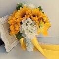 Рамос Де Novia Искусственный Подсолнечника Свадебные Букеты невесты Букет Свадебный Брошь Невесты Букет Цветов Artificiel Mariage