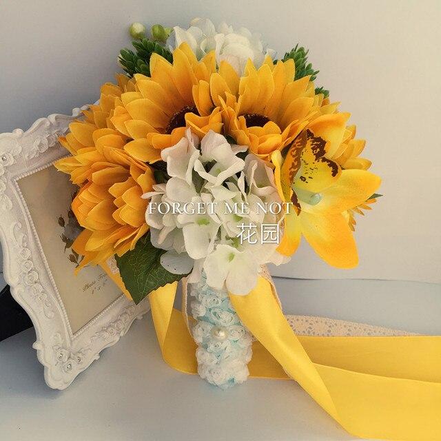 Ramos De Novia Artificial Sunflower Wedding Bouquets Bridal Bouquet Brooch Bridesmaid Flowers Artificiel Mariage
