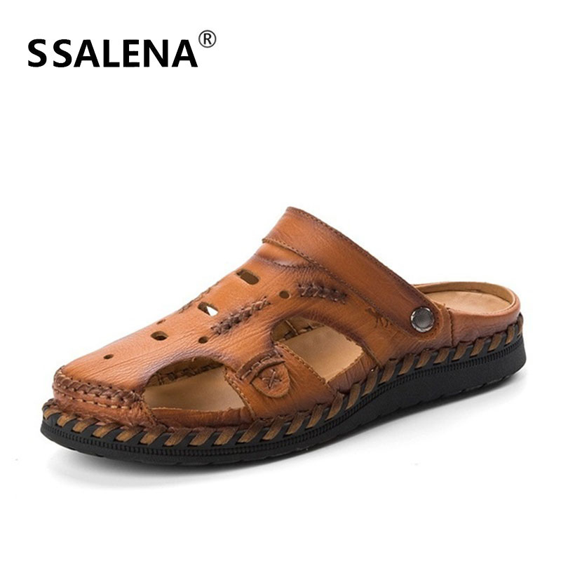 Men Handmade Genuine Leather Sandals Male Breathable Fashion Outdoor Gladiator Mens Comfortable Summer Beach Shoes AA51633