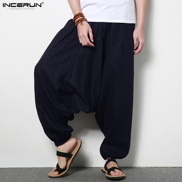 d9ff2887627 Men s Large Crotch Harem Pants Plus Size 5XL Elastic Dance Pants Men  Trousers Loose Linen Pants
