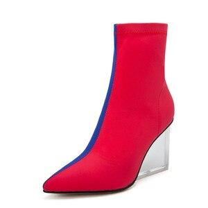 Image 2 - MORAZORA/Новое поступление 2020 года; женские ботильоны; разноцветные ботинки с эластичными носками на молнии; прозрачные женские модельные туфли на танкетке для вечеринок