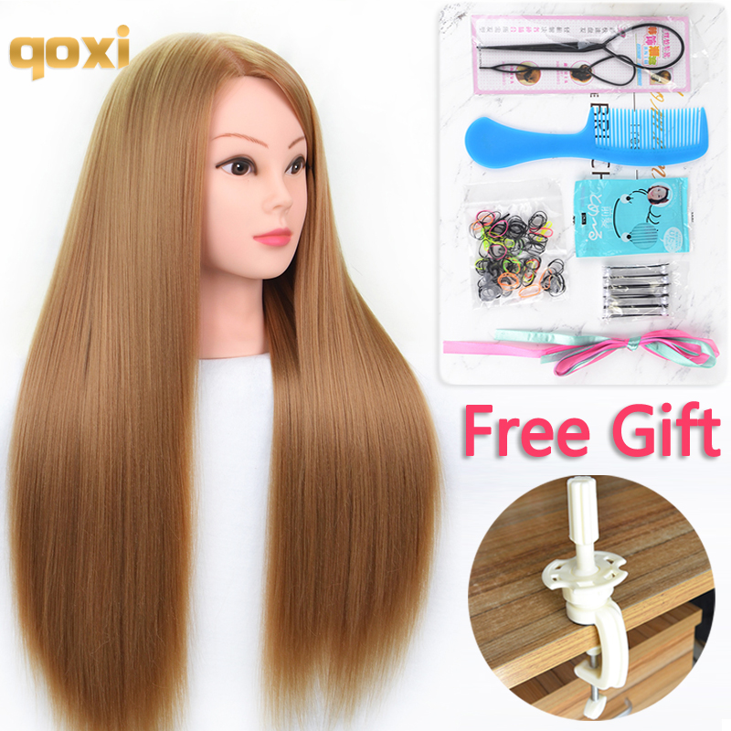 Qoxi Professional training head with long thick hairs practice madeup Hairdressing mannequin dolls Styling maniqui tete for sale