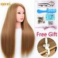 Qoxi profissional formação cabeça com longos cabelos grossos prática madeup cabeleireiro manequim bonecas estilo maniqui tete para venda