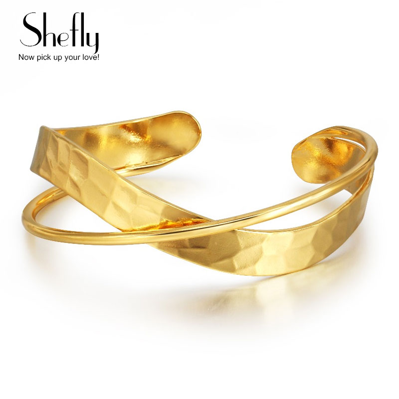 Bangles Ανοικτή Μανικετόκουμπα Ρυθμιζόμενη Χρυσό Βραχιόλι Χρώμα Γυναικεία Πολυτελή Κοσμήματα X Σταυρού Μανσέτες Βραχιόλια & Bangles Γυναικεία Κοσμήματα SL-0252