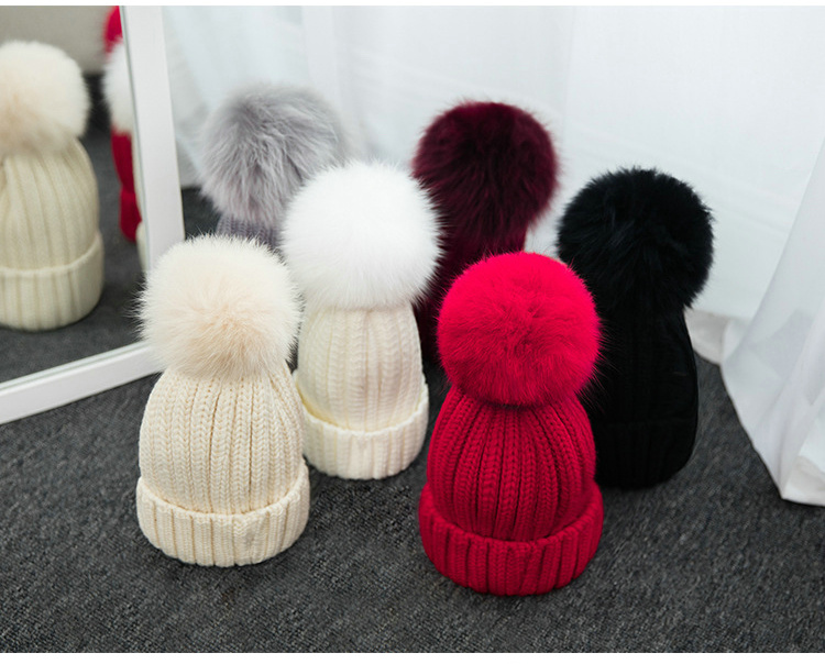 New Korean Women Fashion Hat With Ball On Top Lovely Winter Warm Fox Hair Hat For Girls 4pcs new for ball uff bes m18mg noc80b s04g