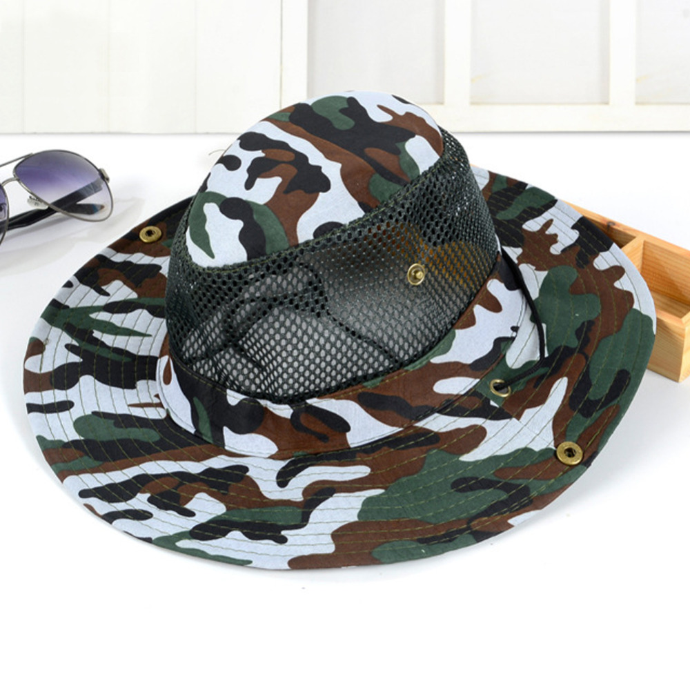 6 Color Breathable Camo Fisherman Hat Wide Brim Caps Military Camouflage Bucket Hats L3
