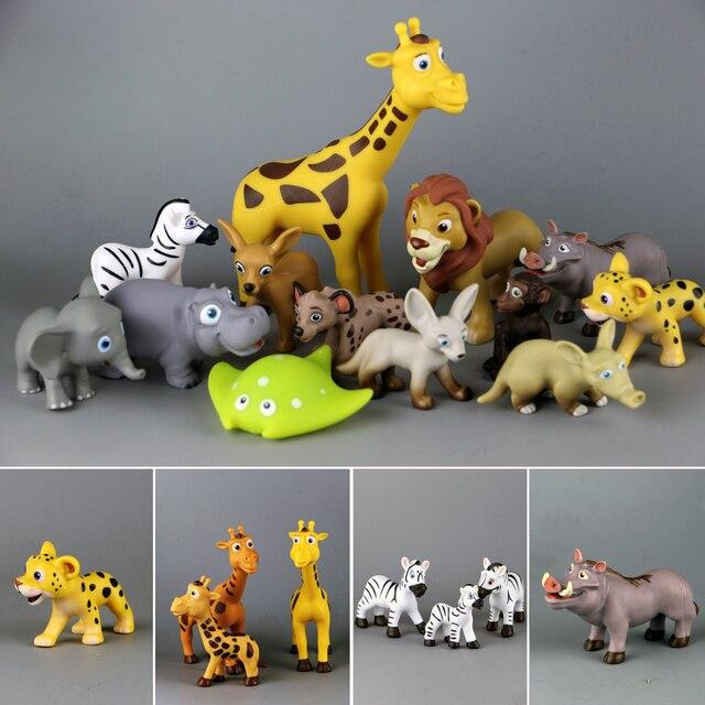 Sevimli karikatür hayvan oyuncak orman ailesi zürafa aslan Hippo geyik şempanze Aardvark büyük kulaklar tilki çocuk oyuncakları