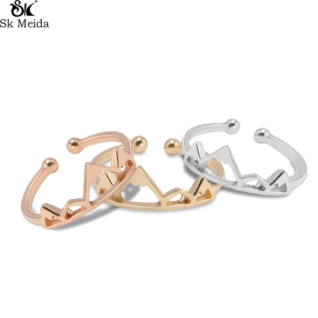 Snow Mountain Peak Opening Ring For Women Personality Female Alloy Plating Adjus
