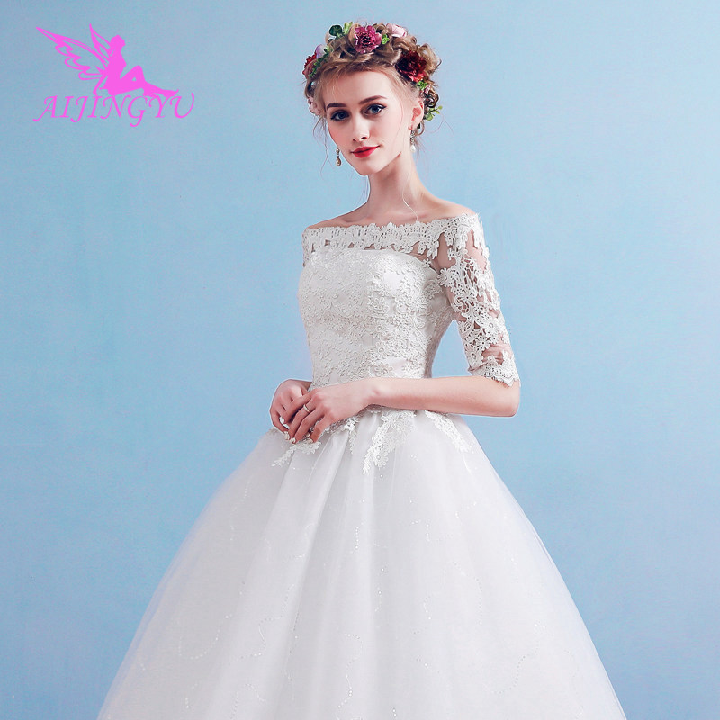 AIJINGYU 2018 Elegant Free Shipping New Hot Selling Cheap Ball Gown Lace Up Back Formal Bride Dresses Wedding Dress FU169
