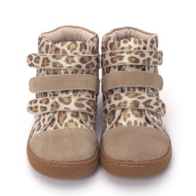 Pekny bosa Brand kids leopard ankle boots child Leather barefoot shoes toddler girls and boys shoes for spring autumn 25-35 цена