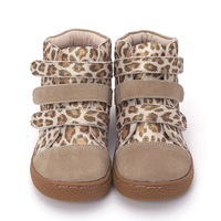 Pekny bosa Brand kids leopard ankle boots child Leather barefoot shoes toddler girls and boys shoes for spring autumn 25 35
