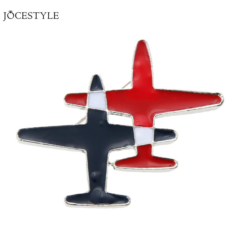 Black&red Stripe Aircraft Plane Hat Jeans Jacket Collar Lapel Pins Badge Men Women Airplane Jewelry
