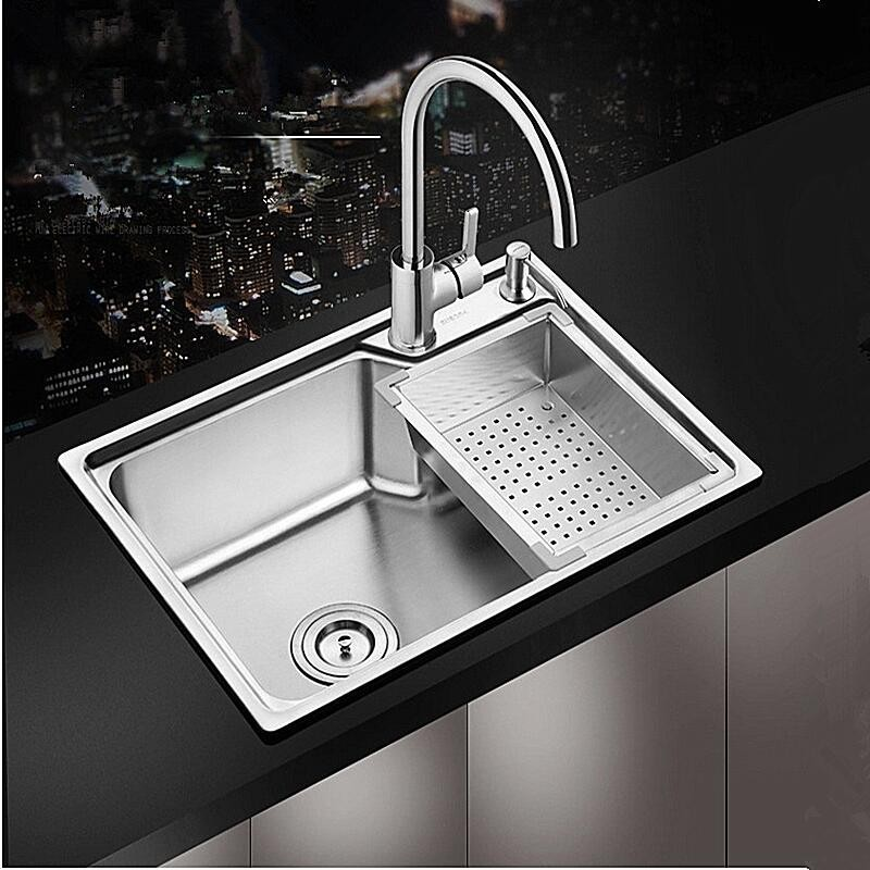 Kitchen Sinks Deck Mounted 304 Stainless Steel Brushed Single Bowl With Drainer Basket Water Pipe Countertop Washing Sinks