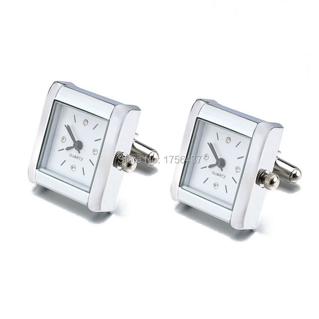 Lepton Functional Watch Cufflinks For Men Square Real Clock Cuff links With Battery Digital Mens Watch Cufflink Relojes gemelos 3