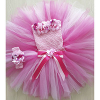 Hot Pink Flower Girl Tutu Dress Pure Handmade Crochet Girls Wedding Party Tutu Dresses For Photos