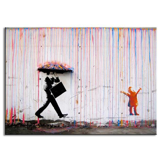 Banksy Art Colorful Man In The Rain Wall Canvas Living Room Decor Abstract