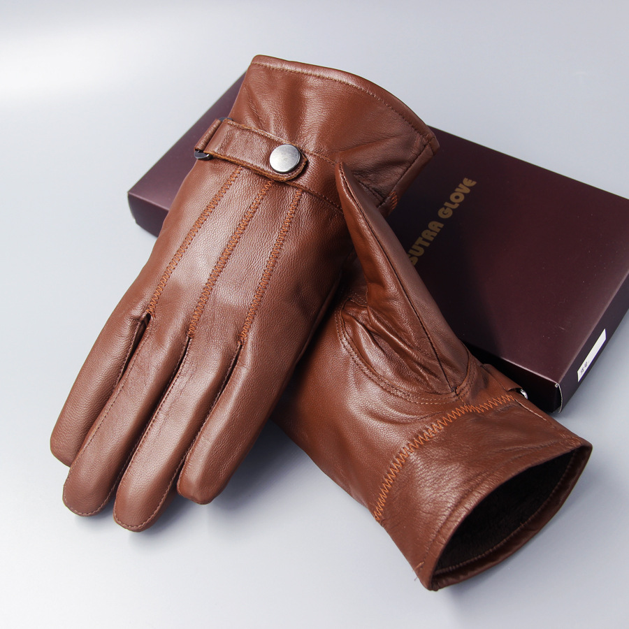 Genuine Leather Gloves Men's Sheepskin Warm Thicken Velvety Hand Muff Winter Bicycle Driving Korean Outdoor Male Mittens H3256