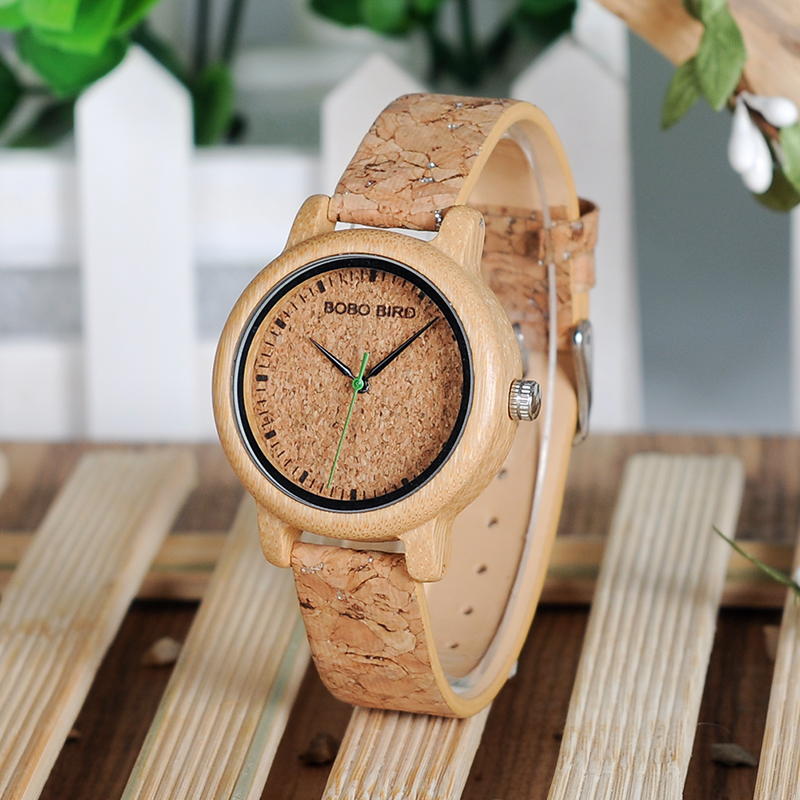 BOBO BIRD Timepieces Handmade Cork Strap Bamboo Women Wooden Watches 17