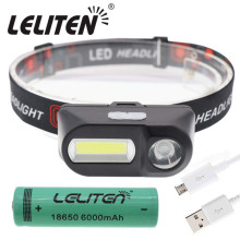 Открытый Кемпинг портативный мини XPE+ COB светодиодный налобный фонарь USB зарядка рыболовные фары фонарик