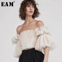 [EAM] 2018 New Autumn winter Fold Stitch Short Mesh Temperament Horn Sleeve Slash Neck Straples Sexy Women Fashion Tops LA192