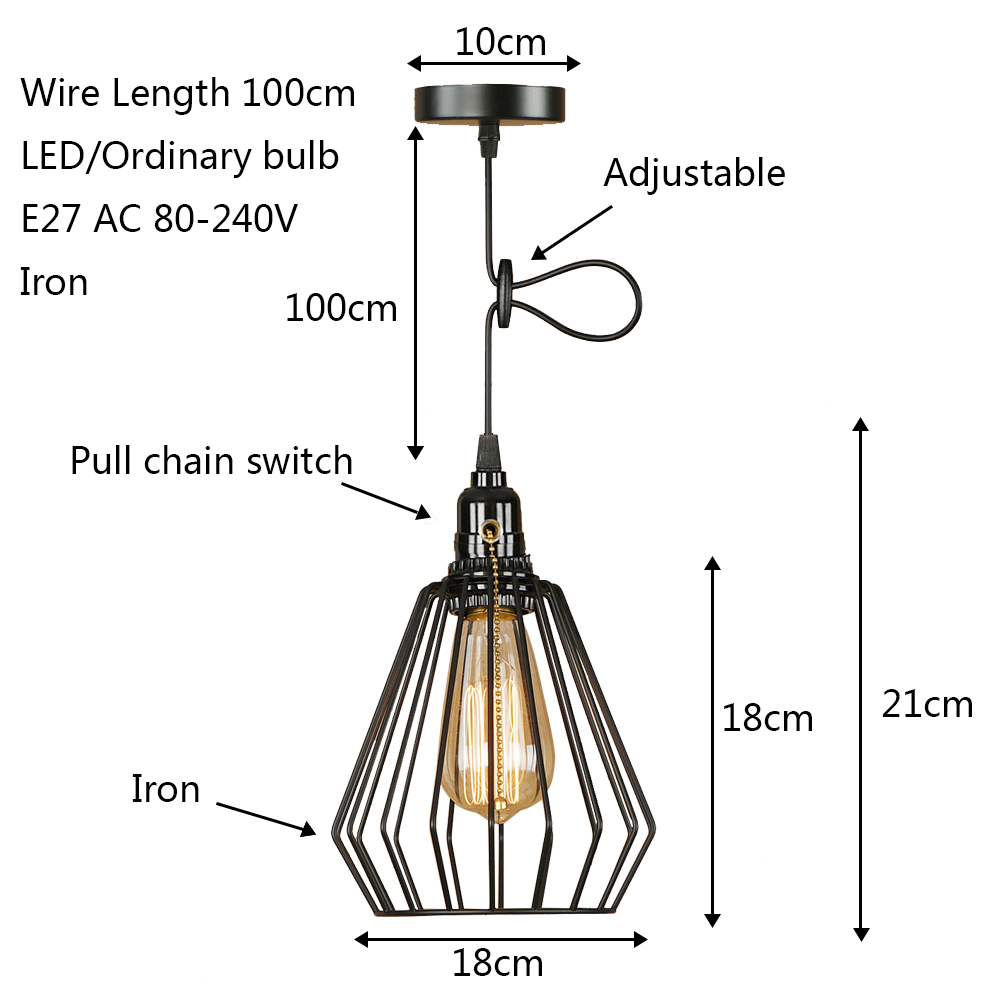 Modern Black Cage Pendant Light Led E27 Industrial Vintage Hanging Switch Wiring Diagram Lamp With For Living Room Restaurant Bedroom Aisle Bar In Lights From