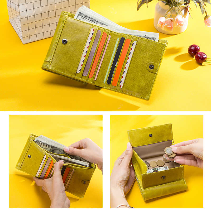 الاتصال سعة كبيرة النساء محافظ جلد طبيعي محفظة نسائية للعملات المعدنية للفتيات حقيبة المال الصغيرة حامل بطاقة الائتمان محفظة الإناث
