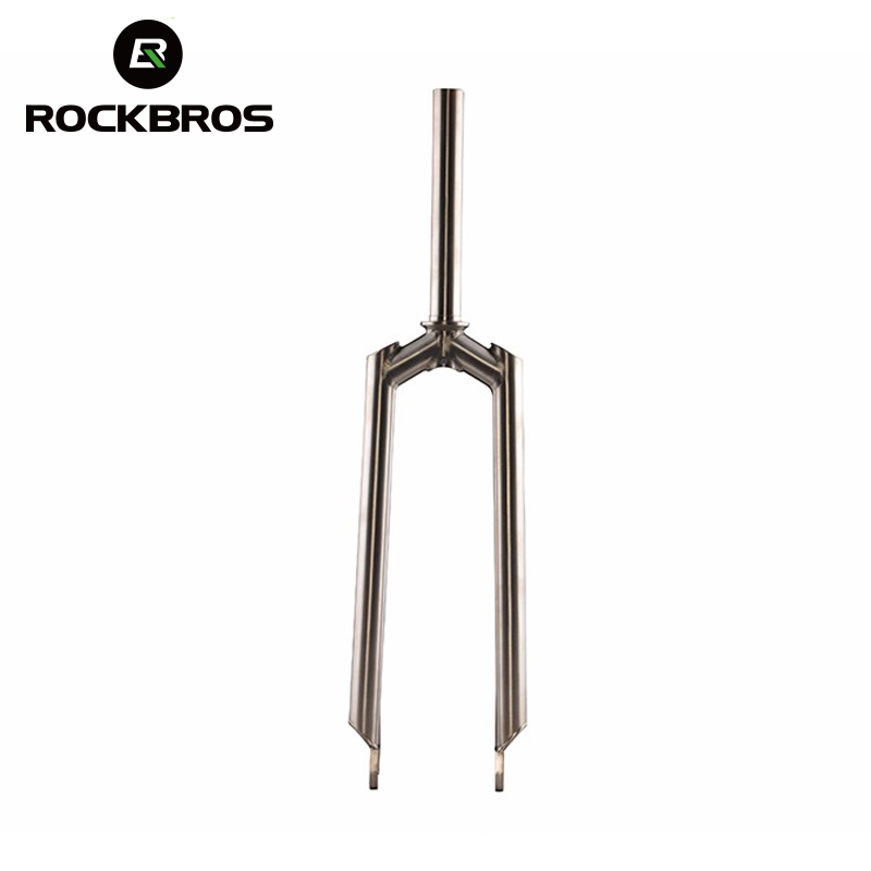 ROCKBROS Bicycles Fork Titanium Alloy 26 Front Fork Mountain Bike Parts Disc Brake Fork 1-1/8 MTB Cycling Straight Fork