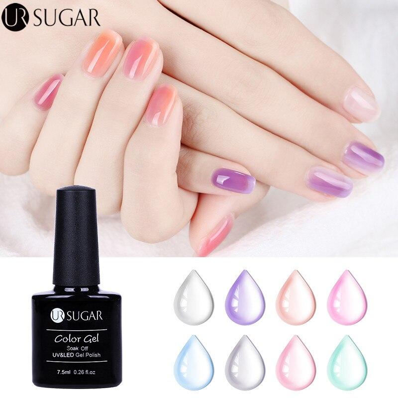 UR SUGAR 7.5ml gel de gelatina de ópalo empapa del gel ultravioleta - Arte de uñas