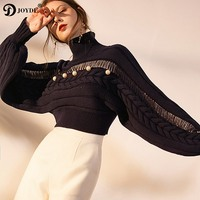 JOYDU Runway Cropped Turtleneck Knitted Sweater Women 2018 New Chic Korean Fashion Hollow Out Pearls Winter Wool Jumper Pullover