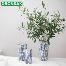Керамическая ваза прямой синий вертикальный цветочный горшок